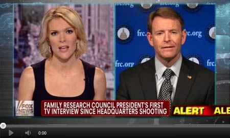 Tony Perkins talks to Fox News host Megyn Kelly about the FRC shooting